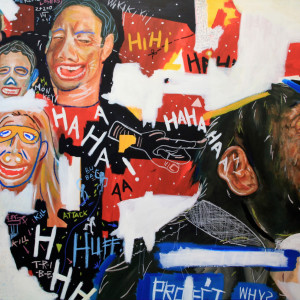 Hypocrisy, 2013, Acrylic, Color Pencils & Soft Pastels on Canvas, 201 x 150cm