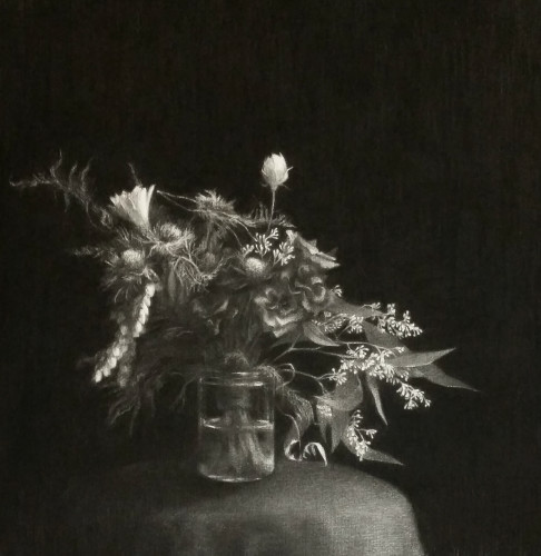 2014-Drawing_Flowers 1_Charcoal on paper_H63 x W63 cm