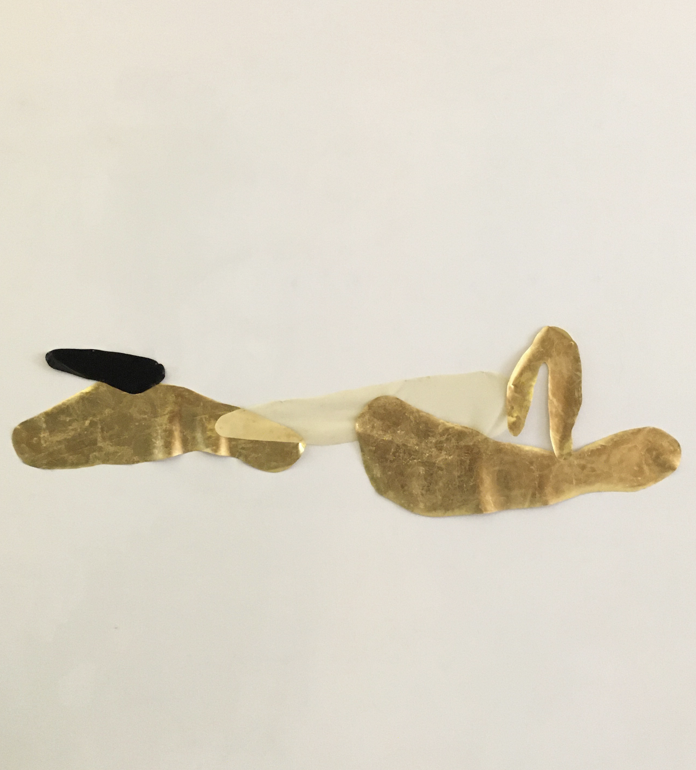 My Skin Shape Shifts Between Black and Gold I_2020_Black, transparent natural latex w: 24K gold leaf and gold thread_Approx. H47 x W133 cm